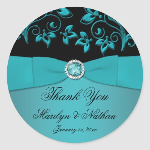 "Teal and Black Floral 3"" Round Thank You Sticker"