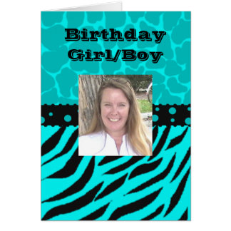 Teal and Black Giraffe Spots with Zebra Stripes Card
