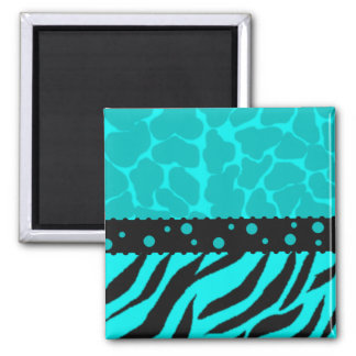 Teal and Black Giraffe Spots with Zebra Stripes Magnet