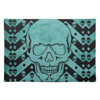 Teal and black grunge chevron skull place mat