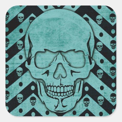 Teal and black grunge chevron skull sticker
