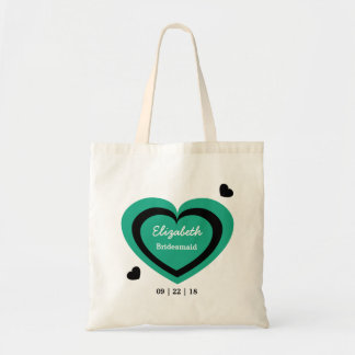Teal and Black Hearts Personalized Wedding Party 2 Canvas Bag
