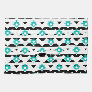 Teal and Black Ikat Tribal Tea Towel