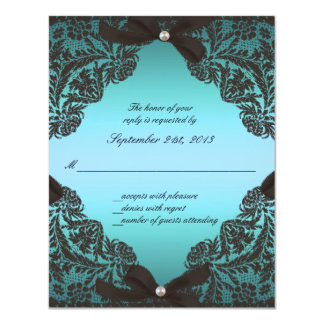 Teal and Black Lace wedding RSVP Card