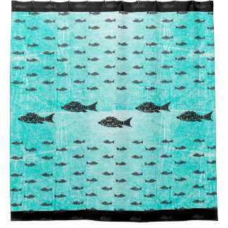 Teal and Black Modern Fish Shower Curtain