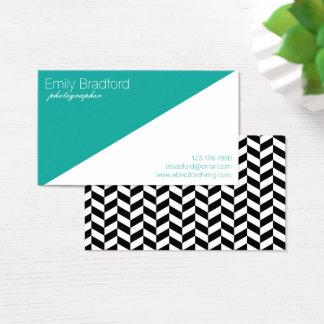 Teal and Black Modern Herringbone Business Cards