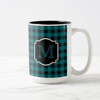 Teal and Black Plaid Monogram Two-Tone Coffee Mug