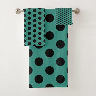 Teal and Black Polka Dot Bath Towel Set