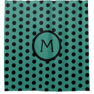 Teal and Black Polka Dot Monogram Shower Curtain