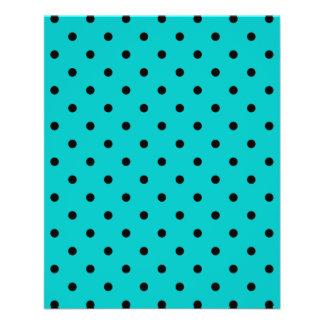Teal and Black Polka Dot Pattern. 11.5 Cm X 14 Cm Flyer