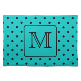 Teal and Black Polka Dot Pattern. Custom Monogram. Placemats