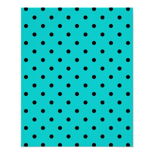 Teal and Black Polka Dot Pattern. Flyers