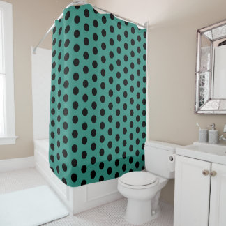 Teal and Black Polka Dot Shower Curtain