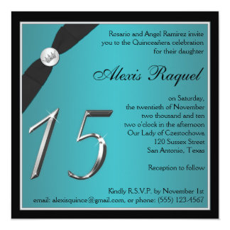 Teal and Black Quinceanera Invitation