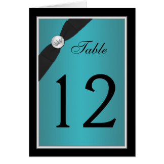 Teal and Black Quinceanera Table Number Card