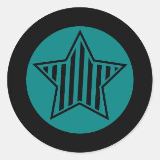 Teal and Black Star Round Sticker