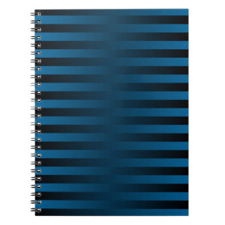 Teal and Black Striped Gradient Weave Notebook