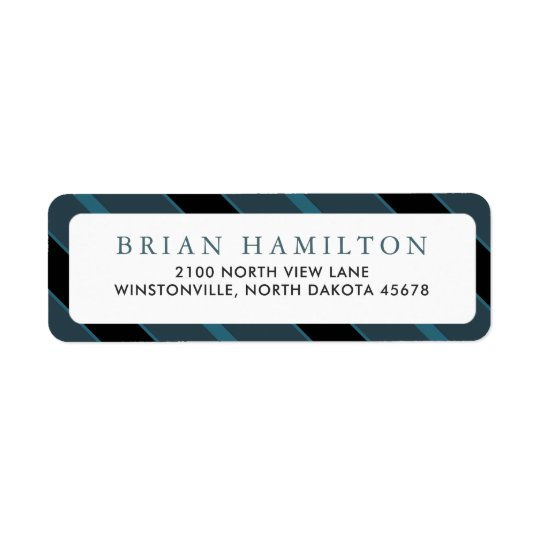 Teal and Black Stripes | Return Address Return Address Label