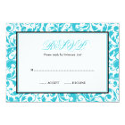 Teal and Black Swirl Damask Bat Mitzvah RSVP Card
