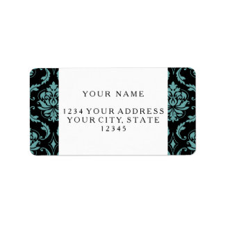 Teal and Black Vintage Damask Pattern Address Label