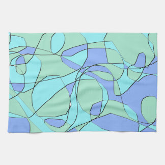 Teal and Blue Abstract Modern Pattern Hand Towel
