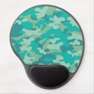 Teal and Blue Camo Gel Mouse Pad