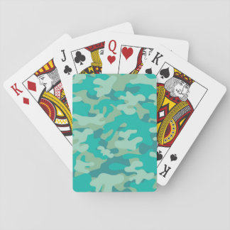 Teal and Blue Camo Playing Cards