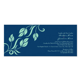 Teal and Blue Floral Leaves Wedding Invitation