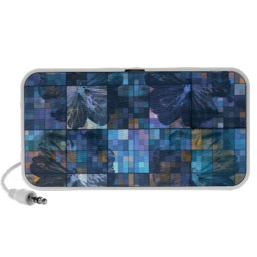 Teal and Blue Flower Abstract Doodle Notebook Speaker