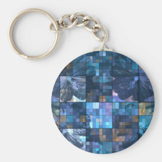 Teal and Blue Flower Basic Round Button Key Ring