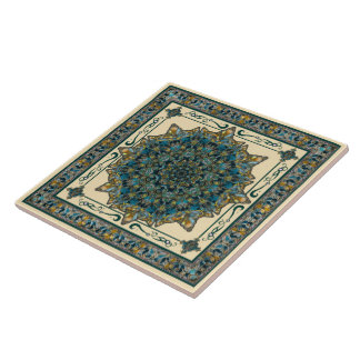 Teal and Blue Glass Window Mandala Ceramic Tile