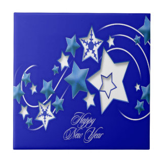 Teal and Blue Happy New Year Shooting Stars Ceramic Tile