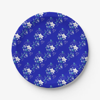 Teal and Blue Happy New Year Shooting Stars Paper Plate