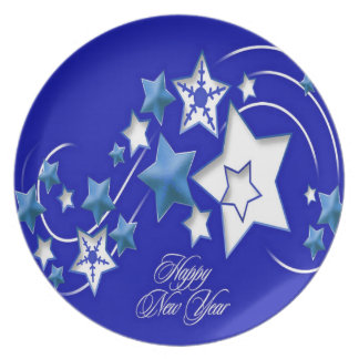 Teal and Blue Happy New Year Shooting Stars Plate