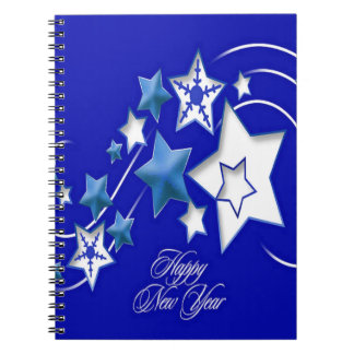 Teal and Blue Happy New Year Shooting Stars Spiral Notebook