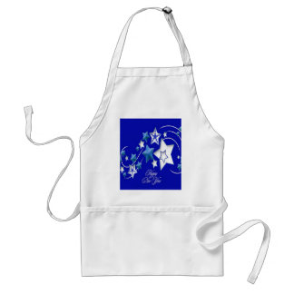 Teal and Blue Happy New Year Shooting Stars Standard Apron