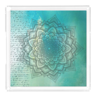 Teal and Blue Mandala Kitchen Food  Serving Tray