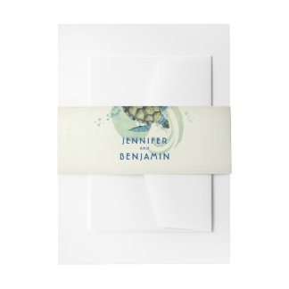 Teal and Blue Sea Turtle Beach Wedding Invitation Belly Band