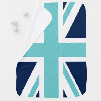 Teal and Blue Union Jack Flag Baby Blanket