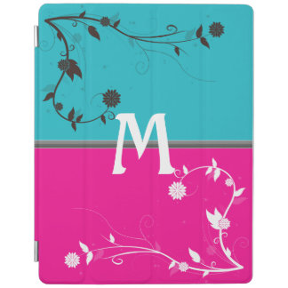 Teal and Bright Pink with floral flourish monogram iPad Cover
