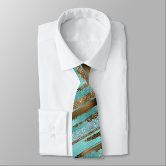 Teal and Bronze Glitter Shine Neck Tie