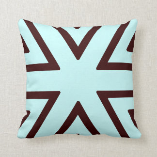 teal and brown abstract pattern pillow