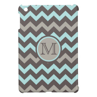 Teal and Brown Chevron with Initial iPad Mini Cover