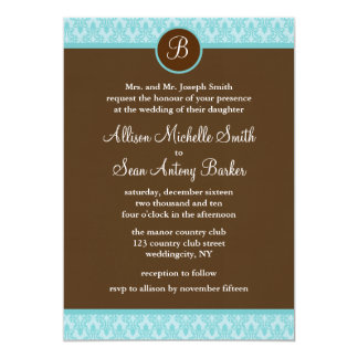 """Teal and Brown Damask Pattern Wedding Invitations 5"""" X 7"""" Invitation Card"""