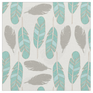 teal and brown feathers modern print fabric