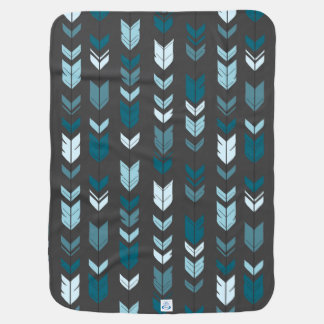 Teal and Charcoal Arrow Feather Baby Blanket