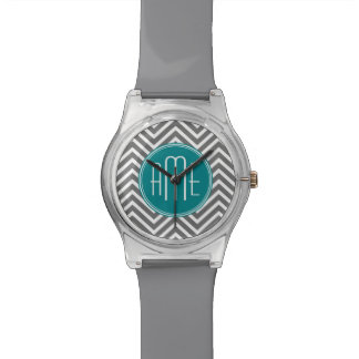 Teal and Charcoal Chevrons with Custom Monogram Watch