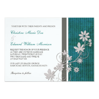 Teal and Charcoal Flower Wedding Invitation