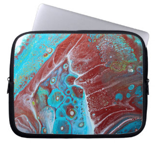 Teal and Copper Acrylic Abstract Laptop Sleeve