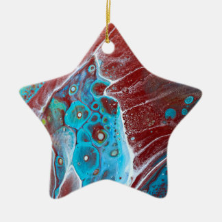 Teal and Copper Acrylic Pour Art Ceramic Ornament